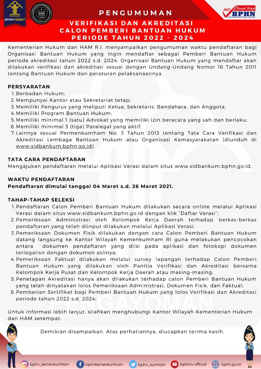 Verifikasi & Akreditasi Calon Pemberi Bantuan Hukum Periode 2022-2024